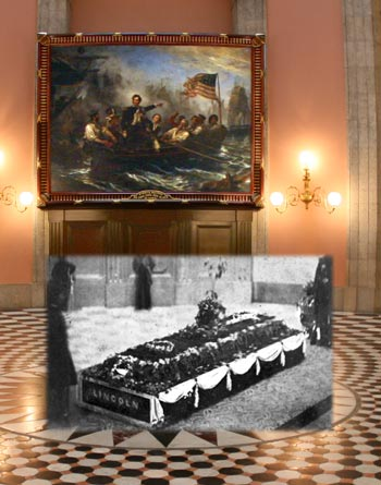Photograph of Lincoln's casket superimposed over contemporary color photograph of the rotunda.