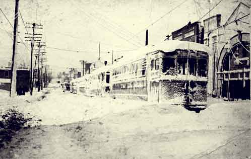 Frozen Cleveland streetcar after the Hurricane of 1913.