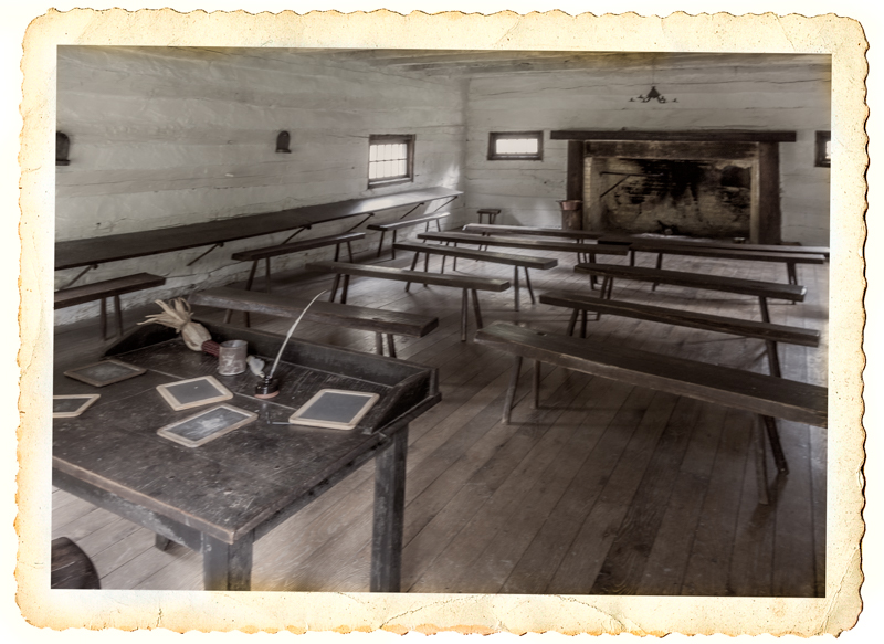 Recreated school house room at Schoenbrunn Village.