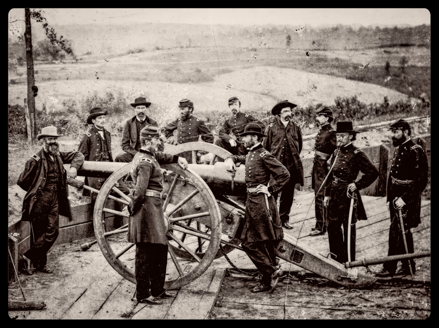 General Sherman posing at a Confederate fortification after the taking Atlanta. This is Federal Fort Number 7 looking north towards Chattanooga Railroad.