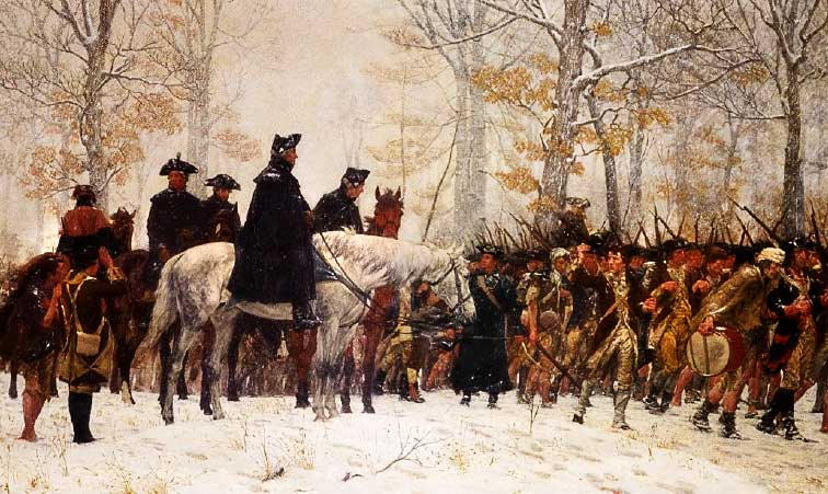George Washington leading his men at Valley Forge. Painting by William Trego.